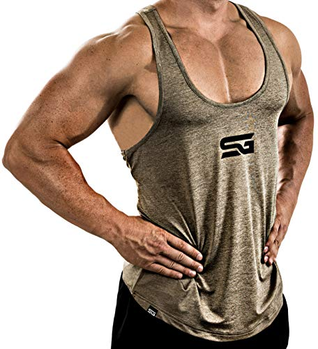 Satire Gym Fitness Stringer Herren - Funktionelle Sport Bekleidung - Geeignet Für Workout, Training - Tank Top (Khaki meliert, S)