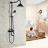 Luxurious shower Öl eingerieben Bronze in der Wand Außen-Dusche Wasserhahn eingestellt ist, um einen Hebel mit Gelenk Drehen des Auswurfkrümmers Whirlpool Badewanne Dusche Mischbatterien