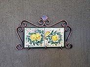 Portachiavi da Muro in Ceramica Siciliana Realizzato e Dipinto a mano. Appendino di Ceramica Fatto a mano. Le