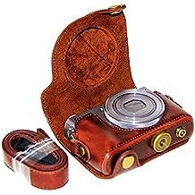 First2savvv XJPT-G9X-10 Funda Cámara cuero de la PU cámara digital bolsa caso cubierta con correa para Canon PowerShot G9X G9 X marron oscuro