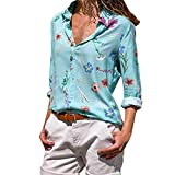 Mjjsk women tops - Camicia - Avvolgente - A Righe - Classico - Manica Lunga - Donna Light Blue Large