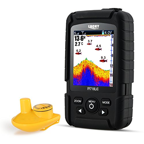 LUCKY Fishfinder Wireless Tragbarer Fisch-Finder 45 m/147feet Sonar Tiefe wasserdicht Fishfinder Ocean Fluss See Farbe Fishfinder