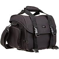AmazonBasics - Große L Umhängetasche für Kamera und Zubehör, Schwarz mit grauem Innenfutter