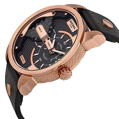 Diesel Mini Daddy - Reloj análogico de cuarzo con correa de cuero para hombre, color negro