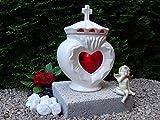 GRABLAMPE HERZ KOMPLETT MIT SOCKEL WEISSE KERAMIK UND KREUZ MIT GRABKERZE ♥ GRABLATERNE GRABLICHT GRABSCHMUCK GRABLEUCHTE Herzgitter Engel Friedhof Pflanzherz Blumentopf Grabherz