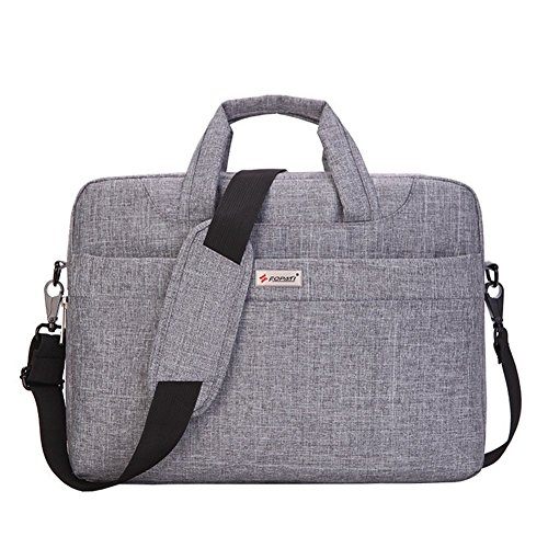 MojiDecor Laptoptasche Wasserdicht Handtasche Umhängetasche Aktentasche Stoßfest Notebooktasche für 38,1-39,6 cm(15-15,6 Zoll) Laptop Notebook Computer MacBook (15 inch, hell grau)