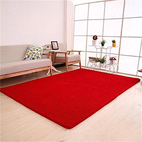 Cqq Teppich Teppich im nordischen Stil Chenille Rechteck einfarbig Muster Maschine weben Dicke 30mm Reinigungsart für Staubsaugen kann Handwaschmaschine sein waschen Sie auf Badezimmer Wohnzimmer Küche Schlafzimmer ( Farbe : Rot , größe : 2X1.4M ) - Weben Muster