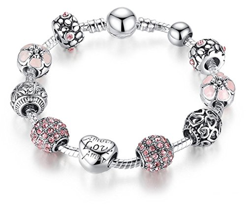 BAMOER Silver Charm Bracelet & Bangle with Love and Flower Crystal Ball