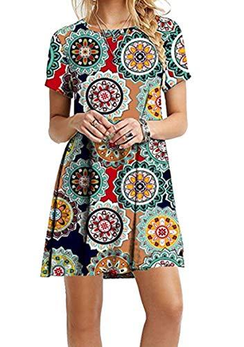 YMING Damen T-Shirt Kleid Kurzarm Loose Tunika Rundhals Lose Casual Sommerkleid,Grüner Jahresring,XL/DE 42