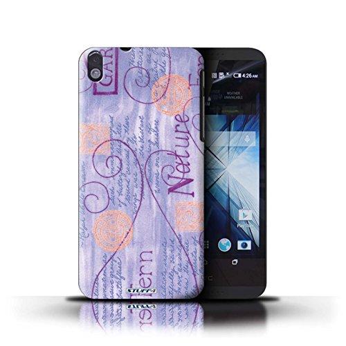 Kobalt® Imprimé Etui / Coque pour HTC Desire 816 / Jaune conception / Série Motif Nature Violet / Orange