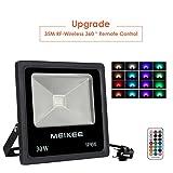 MEIKEE 30W Foco LED RGB en 16 opciones, 4 tipos de modos, Proyector LED de colores con control remoto IP66, Día lluvioso también es adecuado para Halloween, Navidad, cumpleaños, partido