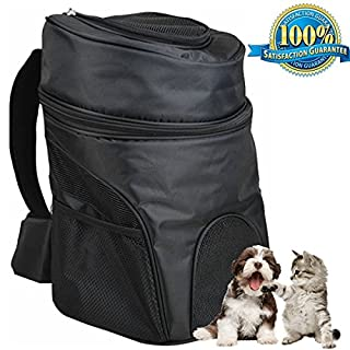 Aoxsen Big Pet Backpack Double Shoulder Bag Dog Cat Pet Carrier Portable Front Back Airline Travel Approved Carriers Puppy Cage Breathable Mesh Window Backbag for Traveling, Camping