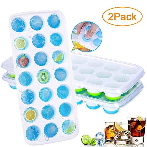 AMEU Eiswürfelform, Silikon Eiskugelform Eiswuerfelbehaelter mit Deckel Ice Cube Tray, Wiederverwendbar Eiswürfelschalen Eiswürfel Form, LFGB Zertifiziert, BPA FREI für Familie Partys, 21-Fach (Party Ice Tray)