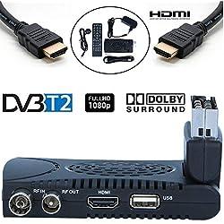 Tempo 1000 Décodeur TNT Full HD -DVB-T2 - Compatible HEVC264 - (HDMI, Péritel, USB, Dolby Digital Plus) Noir [Classe énergétique A]