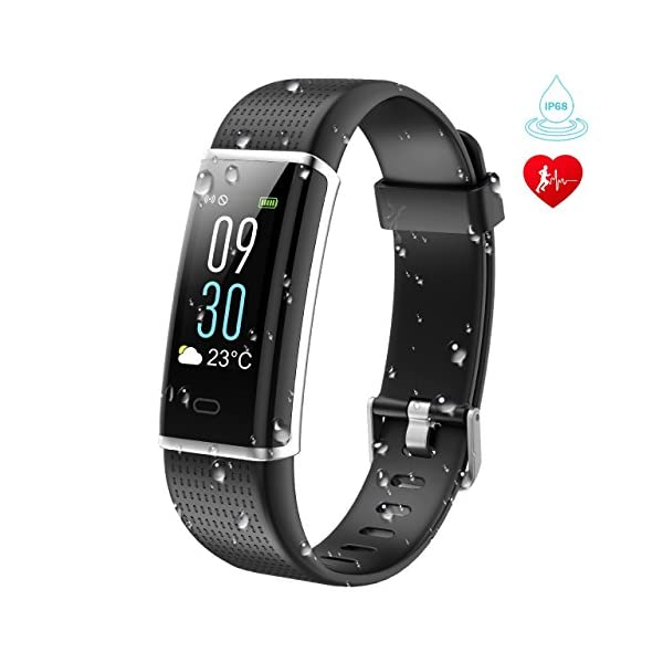 KARSEEN Fitness Tracker Activity Tracker Fitness Watch Heart Rate Monitor Colorful OLED Screen Smart Watch With Sleep Monitor Step Counter IP68 Waterproof Pedometer For AndroidiOS Phone