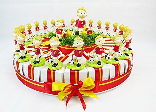 Torta bomboniere 24 fette+ 1 cent. giocatore calcio resina roma cresima