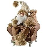 WeRChristmas, Decorazione Natalizia Babbo Natale in Poltrona 28cm–Bianco/Marrone