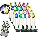 Aufun LED Kerzen 20 Stück RGB Weihnachtskerzen mit Fernbedienung mit Timer LED Kerzen Outdoor Weinachten LED für Weihnachtsbaum, Weihnachtsdeko, Hochzeitsdeko, Party, Feiertag