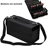 IGNPION 72 Slot Marker Wallet Case Storage Bag with Handle Carrying Lipstick Organizer (Black)