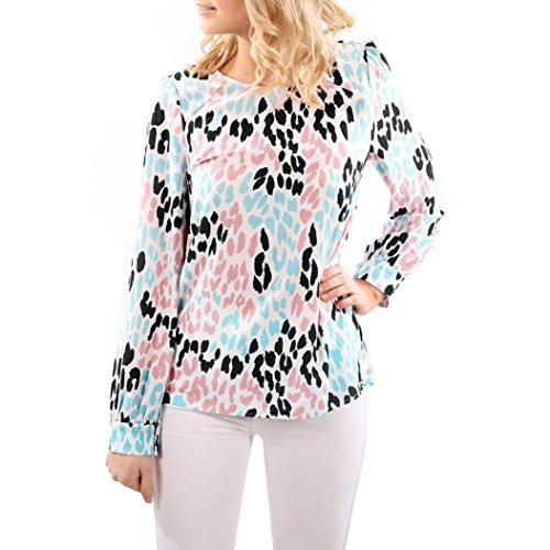 VENMO Frauen O Hals Farbe Leopard Prints Tops Lange Ärmel Lose Bluse T-Shirt (S, White) (Leopard-seide-cardigan)