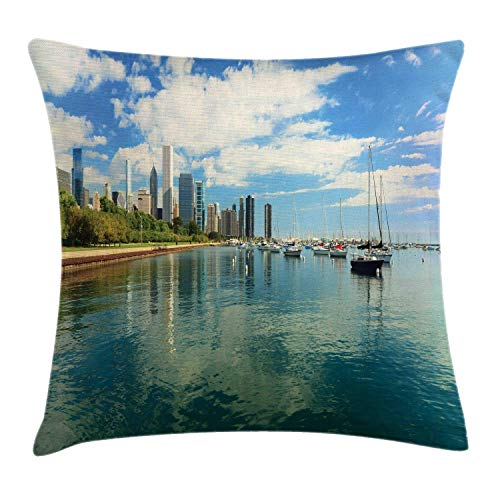 MLNHY Illinois Throw Pillow Cushion Cover, Lake Michigan Scenery with A Yacht Downtown Chicago Skyline Panoramic Landscape, Decorative Square Accent Pillow Case, Multicolour,22 X 22 Inches Illinois Home Jersey