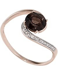 JOBO Damen Ring 585 Rotgold bicolor 1 Rauchquarz braun 3 Diamanten Brillanten