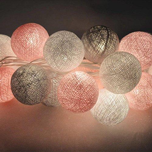 Lichterkette kugeln, Tomasa LED Lichterkette 3m 20er Baumwollkugeln Batterie/USB/Strom-Betrieben für Party Weihnachten Hochzeit Feier Garten Terrasse Zimmerdekoration (Spiegel-ball-licht)