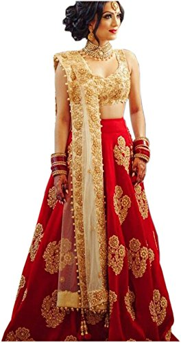 ShreeBalaji women's taffeta silk embroidary Anarkali lehnga/lehenga Choli (FreeSize)