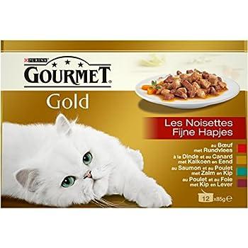 Gourmet Gold Les Noisettes Repas pour Chat Adulte 12 x 85 g