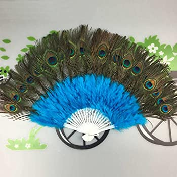 Janly® Peacock Feather Fan Dance Fan Original Ancient Costume Props Costume Drama Classic Luxury Feather Fan For Dance Wedding Party Decoration (Sky Blue) 1