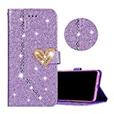 Coque pour iPhone X Violet, Obesky Luxe Bling Glitter PU Cuir Housse de Protection...