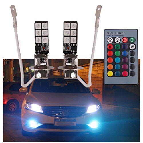 FEZZ Auto LED Nebelscheinwerfer Nebellampe Birnen H3 5050 12SMD RGB mit drahtloser Fernbedienung 7 Farbe 4 Modi