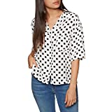 Levis Meiko Womens Short Sleeve Shirt Medium Polka Dot Cloud Dancer