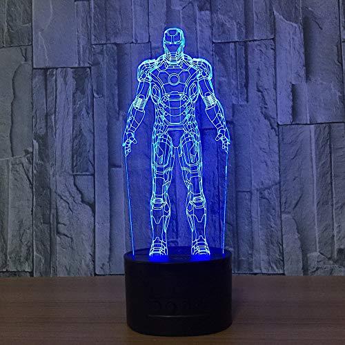 3D Tischlampe Mann Eisen bunte LED Kronleuchter 3D Nacht leuchtet Kinderzimmer Nachttischlampen dekorativ für Spielzeug Geschenk - Um Motorrad-club Den Eisen,