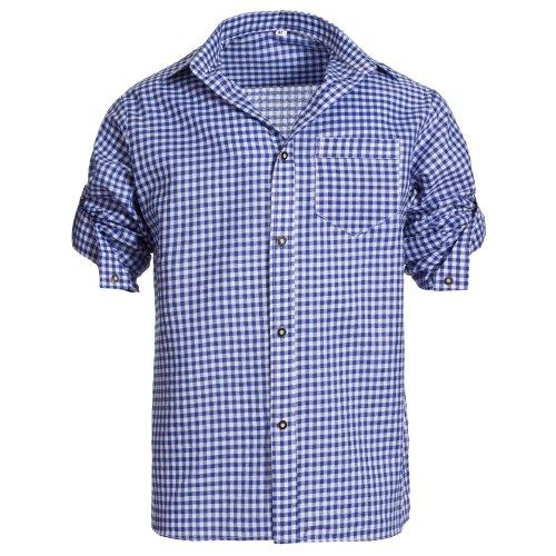 Herren Set Lederhose Dunkelbraun und Trachtenhemd Blau Weiß Kariert Gr. Hose 46 Hemd S - 3