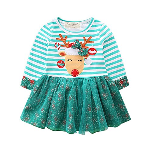 Baby Mädchen Weihnachten Kleid Langarm Santa Deer Spitze Prinzessin Tutu Knie-lange Kostüme Outfit von (Kinder Santa Kleider Für)