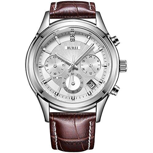 BUREI Herren Einfaches Classic Quarz Armbanduhr Chronograph mit Weißem Zifferblatt Datum Kalender und Braun Echtes Lederband