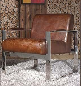 Phoenix Company 445 Fauteuil en cuir et acier inoxydable Style vintage