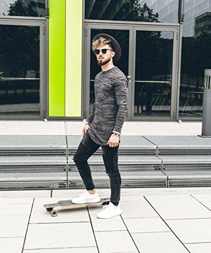 Phoenix Oversize Round Longsleeve T-Shirt Herren Langarm Longshirt Abgerundet Schwarz Mixed