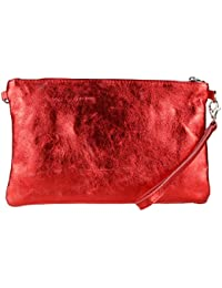 Girly HandBags Genuine Italian Metallic Leather Clutch Bag