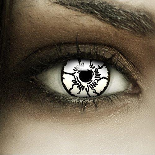 Farbige weiße Kontaktlinsen Geist + Kunstblut Kapseln + Behälter von FXCONTACTS®, weich, ohne Stärke als 2er Pack - perfekt zu Halloween, Karneval, Fasching oder Fasnacht