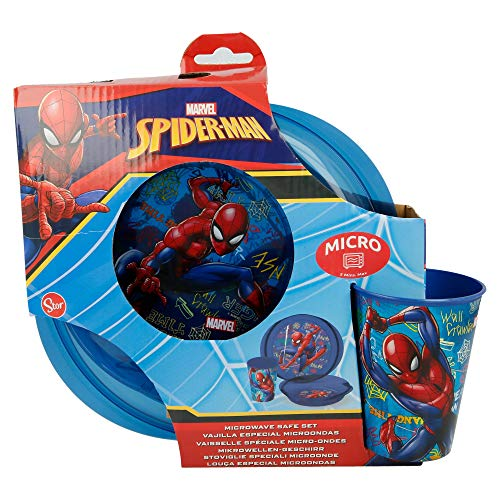 Stor Lot de 3 Micro Easy (Plat, Bol et Vase) Spiderman Graffiti