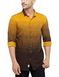 SHOWOFF Men's Cotton Full Sleeve Slim Fit Printed Casual Shirt (MarwaiEngineering2521_Yellow)