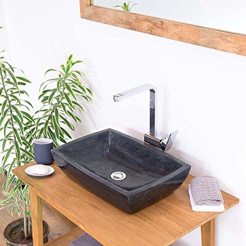 wohnfreuden Marmor Aufsatzwaschbecken 50x35x11 cm ✓ schwarz rechteckig ✓ Handwaschbecken Steinwaschschale Naturstein-Aufsatzwaschbecken für Bad Gäste WC