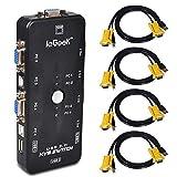 ieGeek KVM Switch Adapter 4 Port USB KVM Switch Box mit 4 KVM Kabel für PCs Maus Drucker und Tastatur - Schwarz