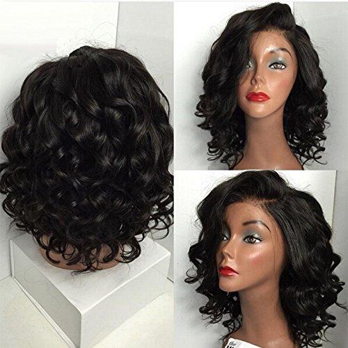 Sunwell Bob Curly perruque femmes Grade 6A cheveux humains brésiliens dentelle frontal Couleur naturelle Densité 130 35.5cm