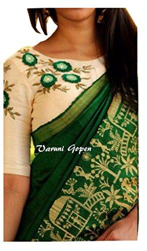 SUNSHINE Green Color Bhagalpuri Silk Fabric Beautiful Saree