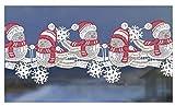 Scheibengardine Fensterdeko Winterspatzen,Spatzenfamilie aus Spitze HXB ca. 11 x 38 cm in rot/weiß