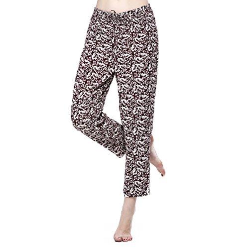 Damen Hosen Mädchen Leggings Floral Blumen Weich Rayon Boho Unterteile Damast Elastischer Bund Lässig Gedruckt Lounge Pants (S)