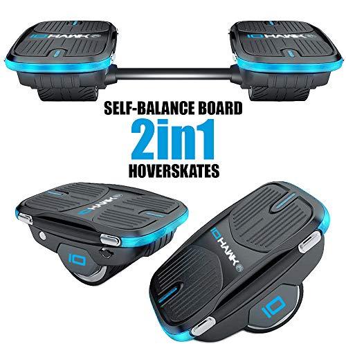 IOHAWK NXT Skates, 2 in 1 Elektro Hoverboard für Kinder und Erwachsene, 12 km/h Max Speed Elektro Hoverskates, 250 W Dual Motor, Hochleistungssensoren Self Balance E-Skateboard